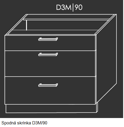 Kuchynská linka PLATINUM Kuchyňa: Spodná skrinka D3M/90 / (ŠxVxH) 90 x 82 x 50 cm