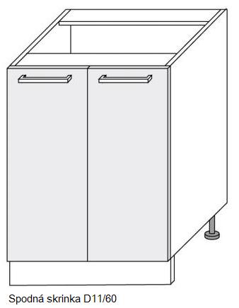 Kuchynská linka PLATINUM Kuchyňa: Spodná skrinka D11/60 / (ŠxVxH) 60 x 82 x 50 cm