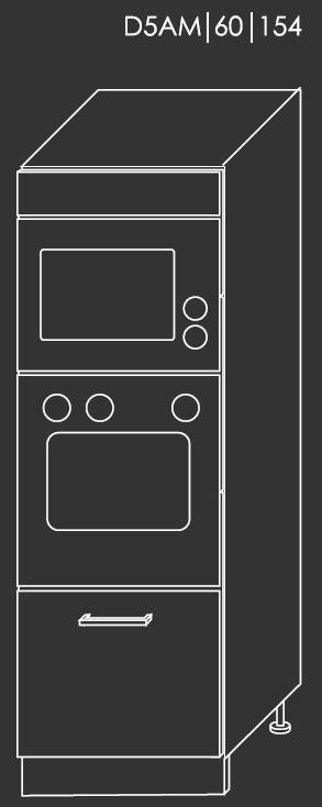 Kuchynská linka PLATINUM Kuchyňa: Spodná skrinka D5AM/60/154 / (ŠxVxH) 60 x 154 x 58 cm