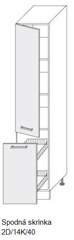 Kuchynská linka PLATINUM Kuchyňa: Vysoká skrinka 2D/14K/40 / (ŠxVxH) 40 x 207 x 58 cm