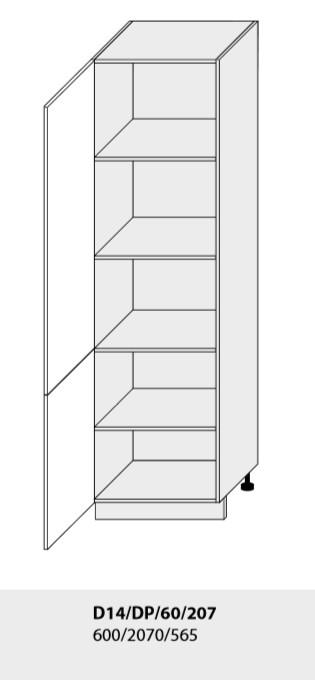 Kuchynská linka PLATINUM Kuchyňa: Potravinová skrinka D14/DP/60/207 / (ŠxVxH) 60 x 207 x 56,5 cm