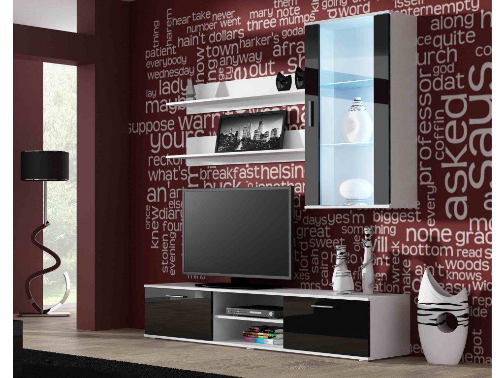 Artcam Obývacia stena Soho 5 Farba: biela/čierny lesk