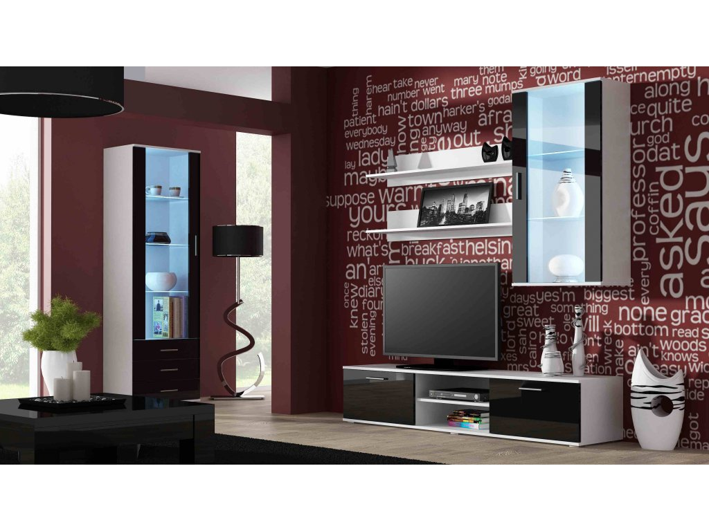 Artcam Obývacia stena Soho 6 Farba: biela/čierny lesk