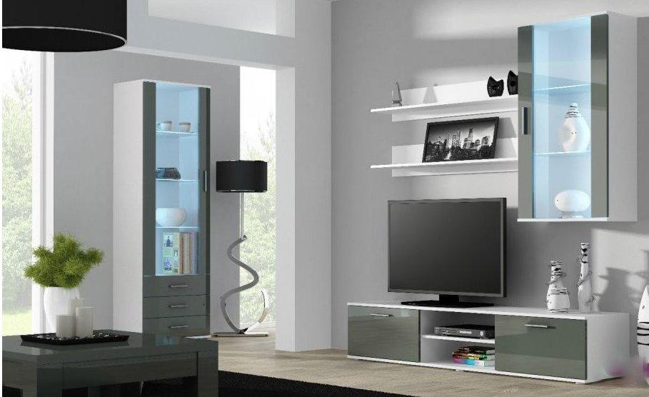 Artcam Obývacia stena Soho 6 Farba: Biela/sivý lesk
