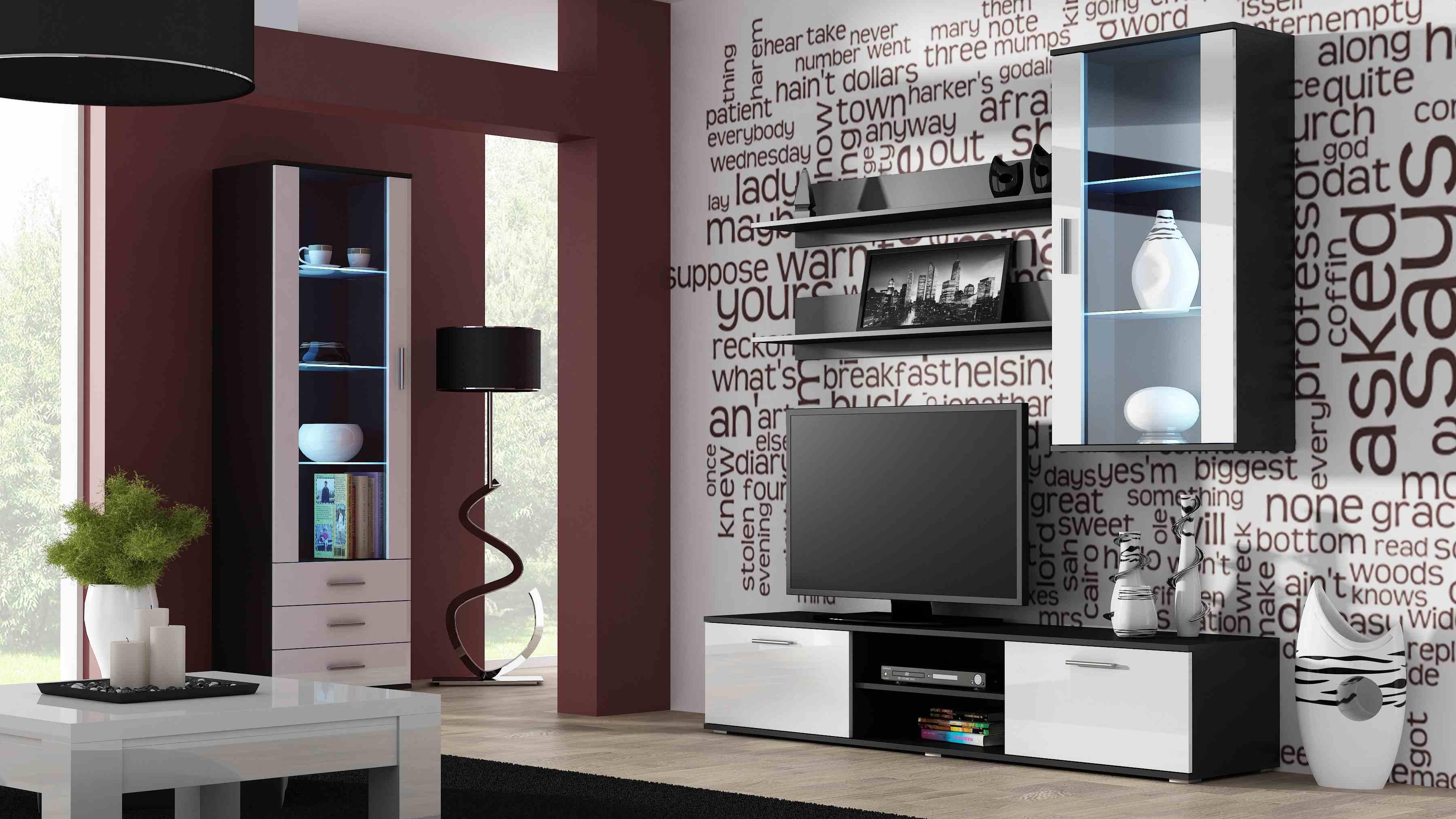 Artcam Obývacia stena Soho 6 čierna/biely lesk