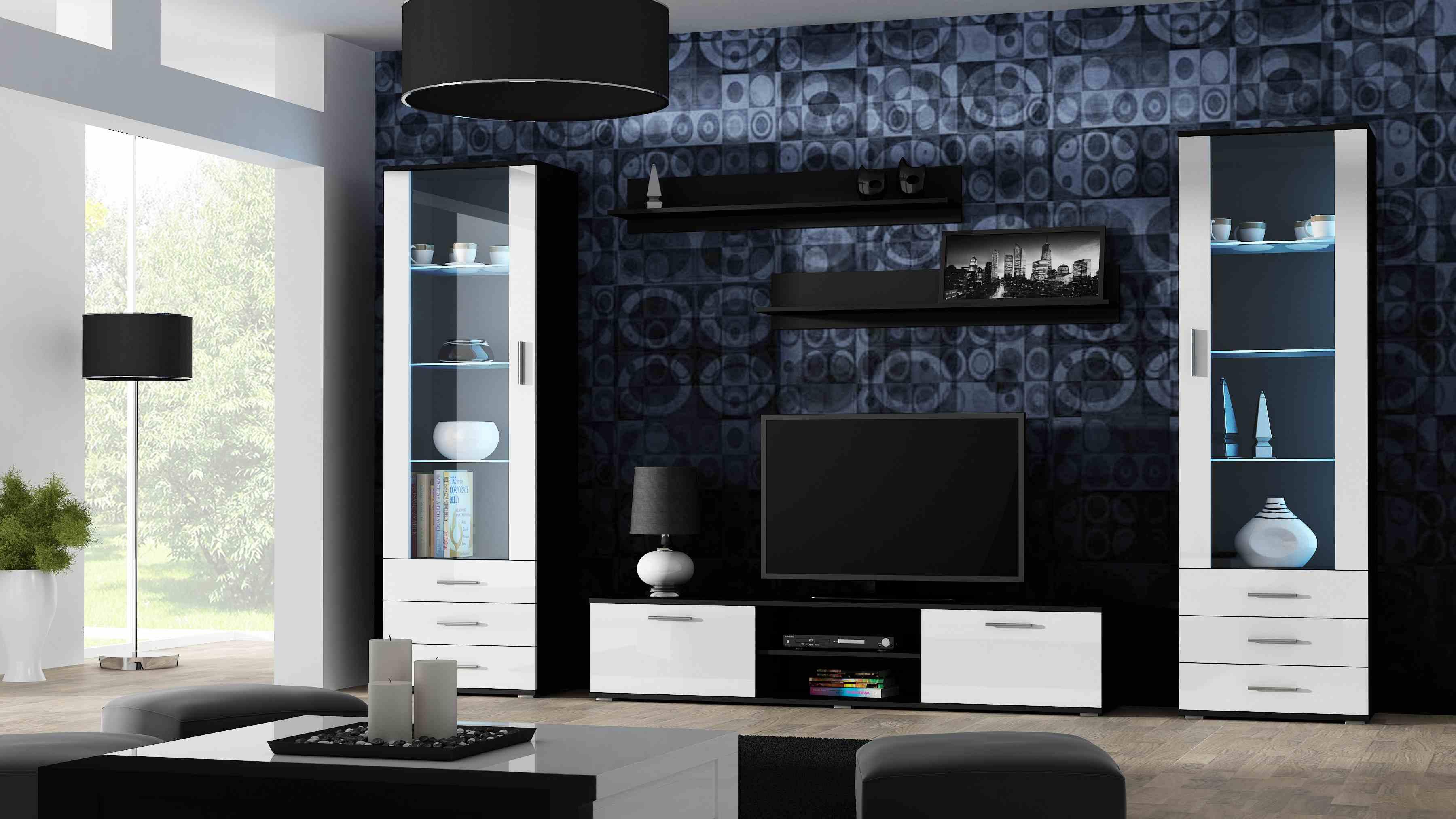 Artcam Obývacia stena Soho 4 čierna/biely lesk