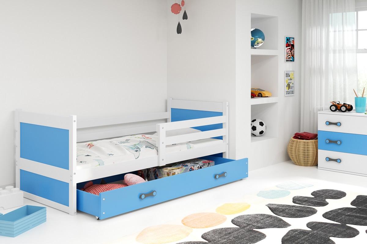 BMS Detská posteľ RICO 1 / BIELA 190x80 Farba: Modrá
