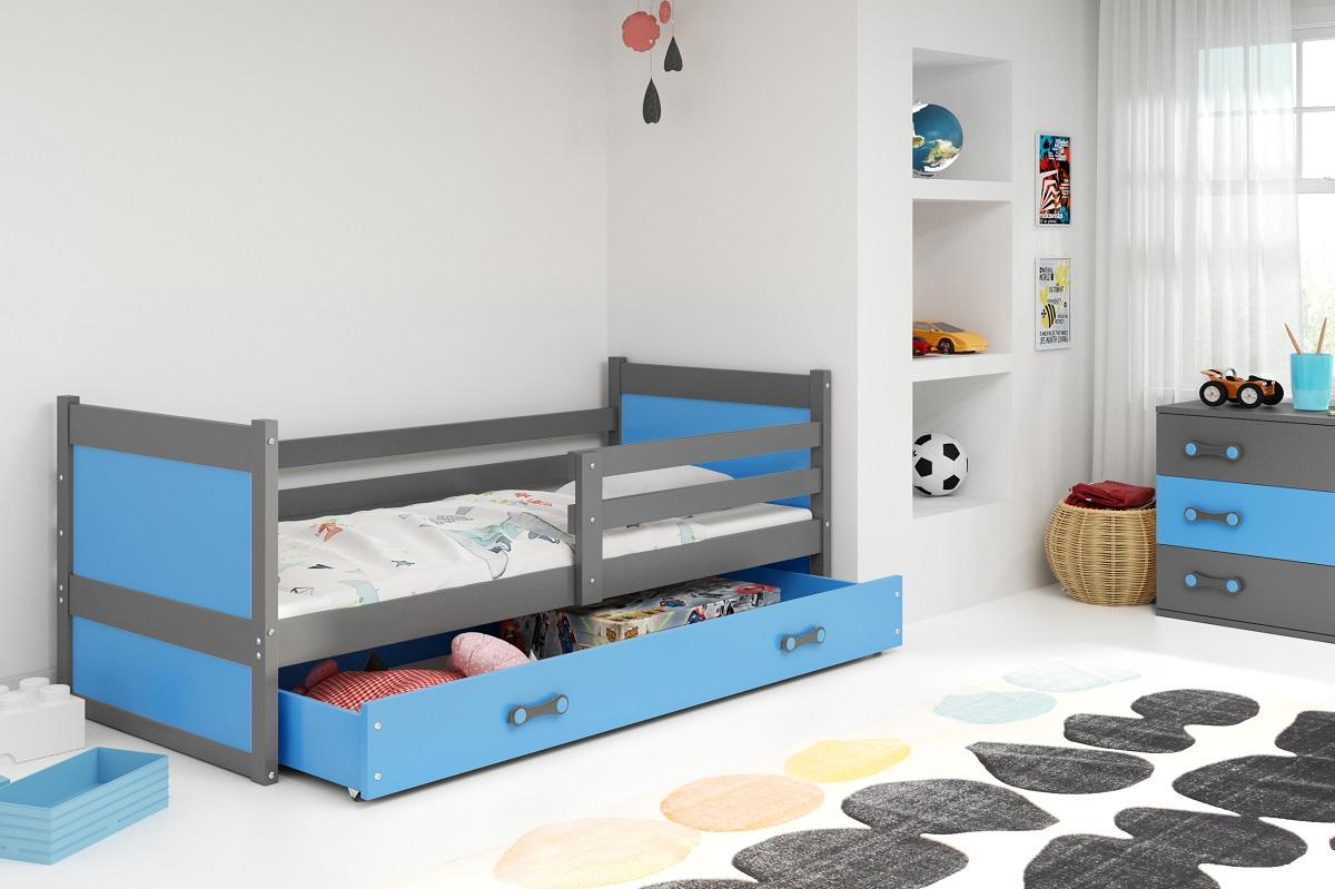 BMS Detská posteľ RICO 1 / SIVÁ 190x80 Farba: Sivá - do vypredania zásob