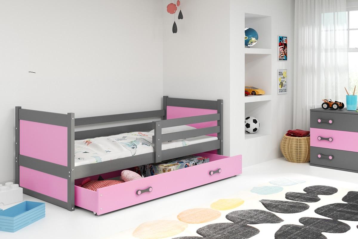 BMS Detská posteľ RICO 1 / SIVÁ 190x80 Farba: Modrá - do vypredania zásob