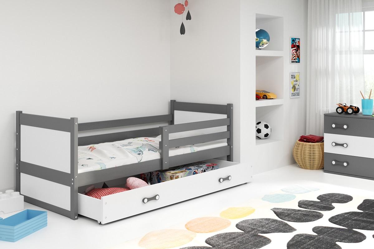 BMS Detská posteľ RICO 1 / SIVÁ 190x80 Farba: Biela