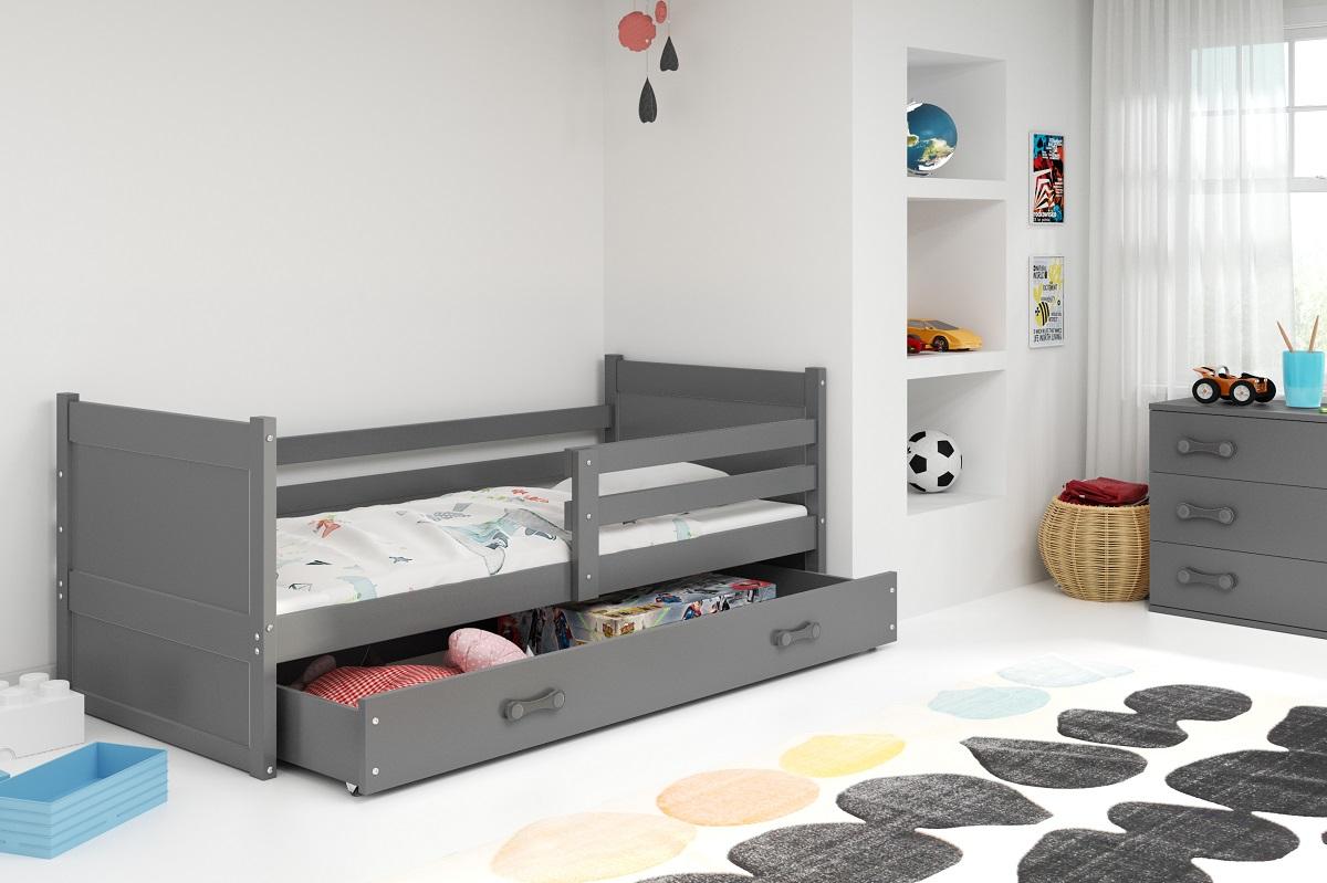 BMS Detská posteľ RICO 1 / SIVÁ 190x80 Farba: Biela - do vypredania zásob
