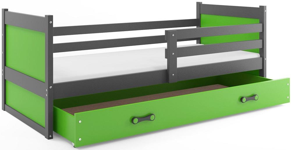 BMS Detská posteľ RICO 1 / SIVÁ 190x80 Farba: Zelená