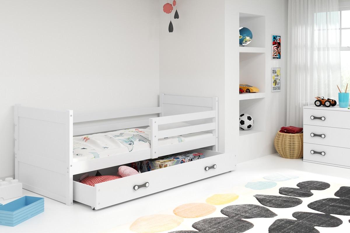 BMS Detská posteľ RICO 1 / BIELA 200x90 Farba: Ružová - do vypredania zásob