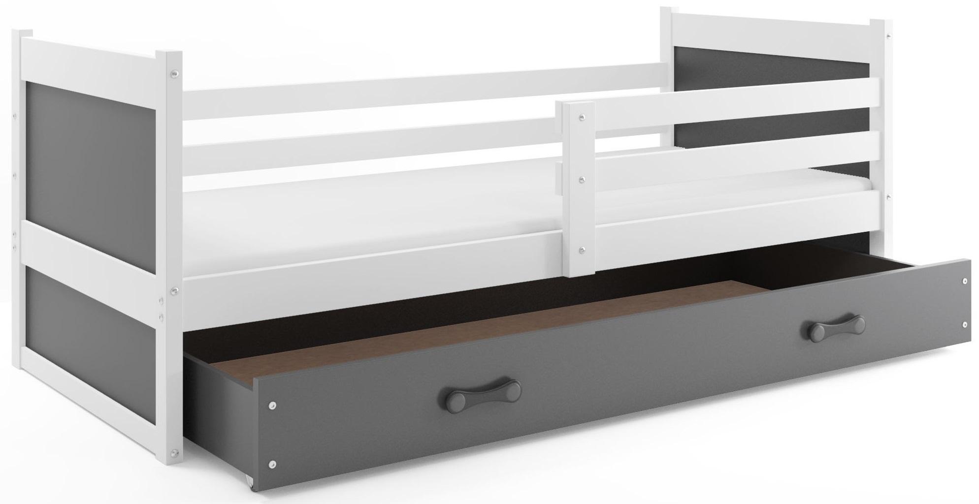 BMS Detská posteľ RICO 1 / BIELA 200x90 Farba: Sivá - do vypredania zásob