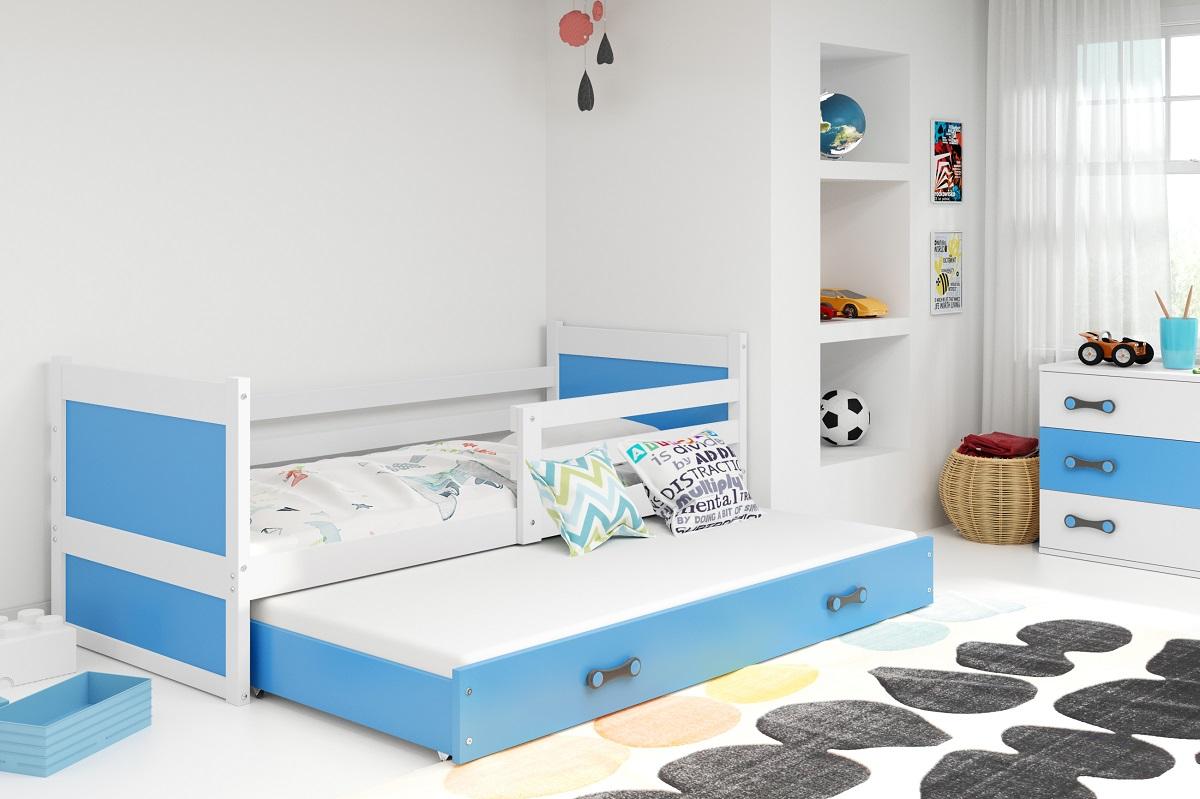 BMS Detská posteľ RICO 2 / BIELA 200x90 Farba: Modrá