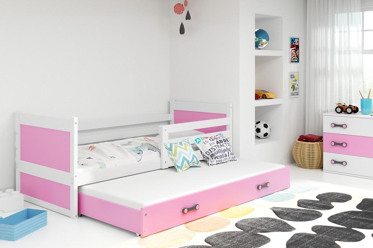 BMS Detská posteľ RICO 2 / BIELA 200x90 Farba: Ružová
