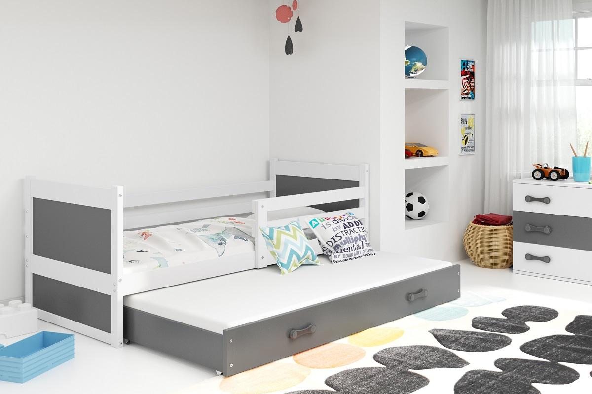 BMS Detská posteľ RICO 2 / BIELA 200x90 Farba: Sivá