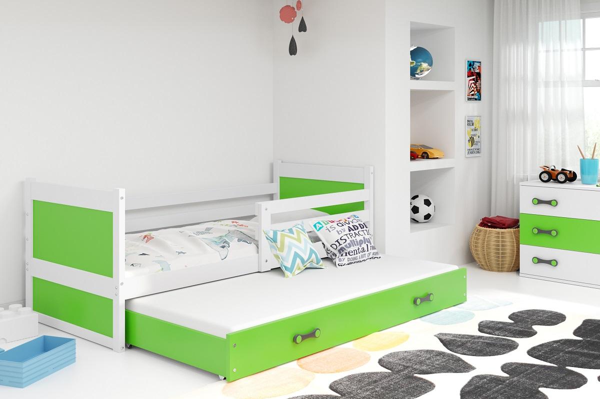 BMS Detská posteľ RICO 2 / BIELA 200x90 Farba: Zelená