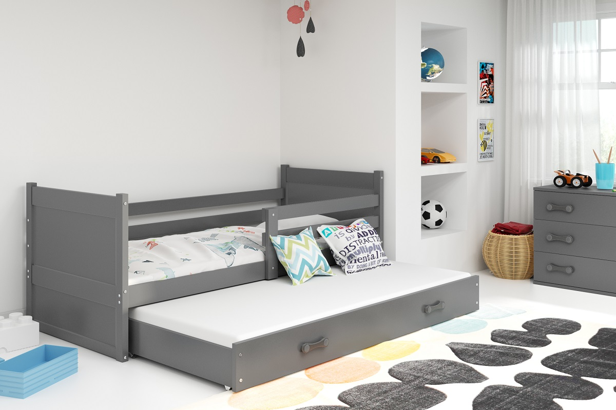 BMS Detská posteľ RICO 2 / SIVÁ 200x90 Farba: Modrá - do vypredania zásob