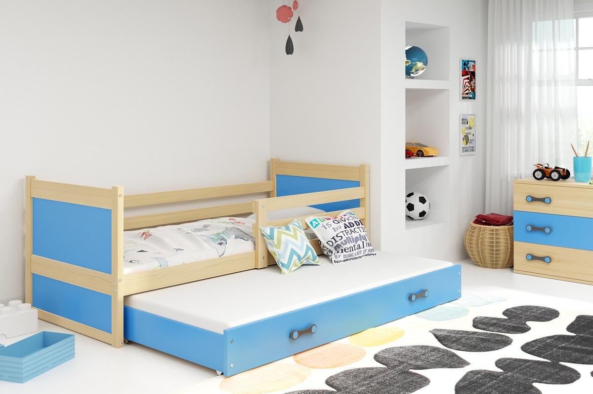BMS Detská posteľ RICO 2 / BOROVICA 200x90 Farba: Modrá