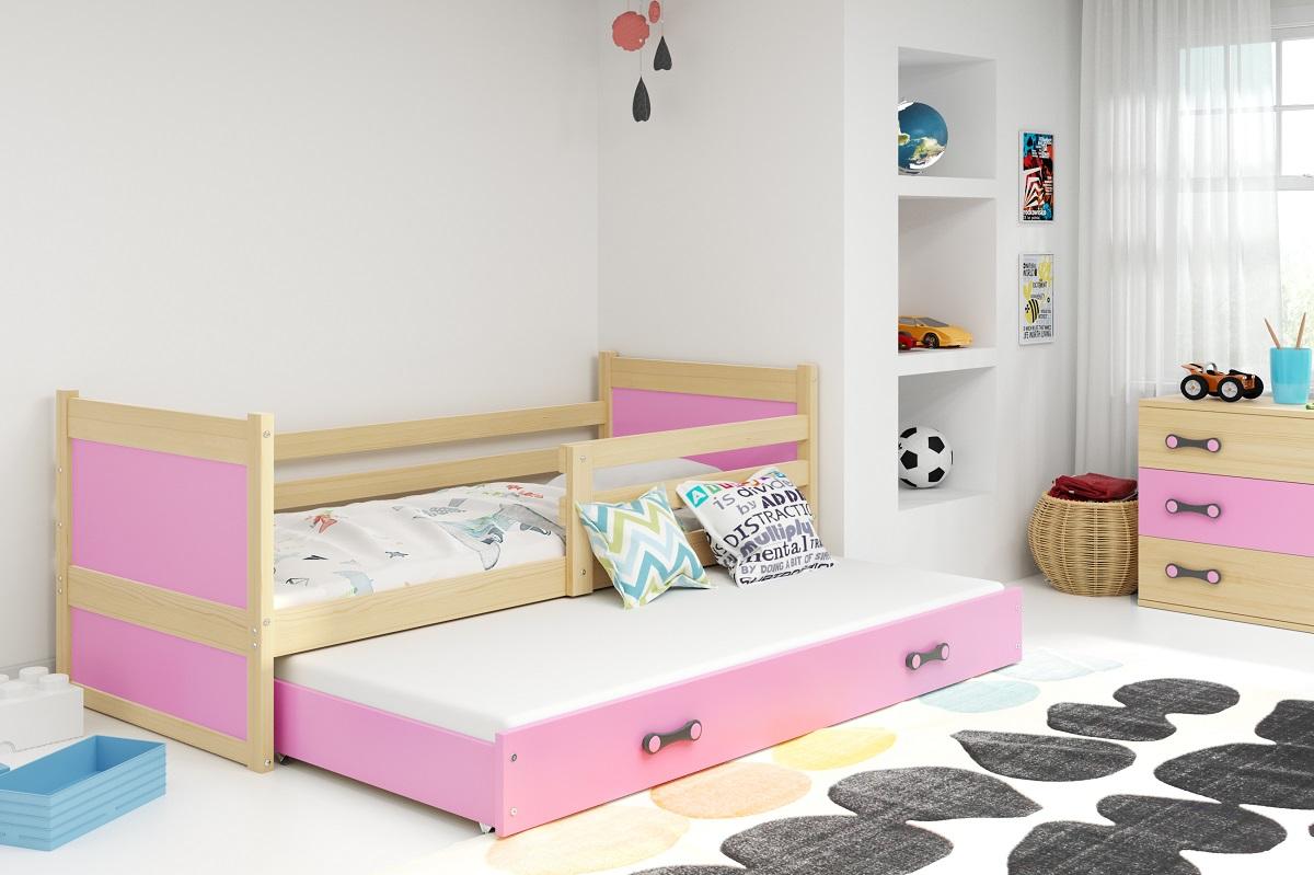 BMS Detská posteľ RICO 2 / BOROVICA 200x90 Farba: Ružová