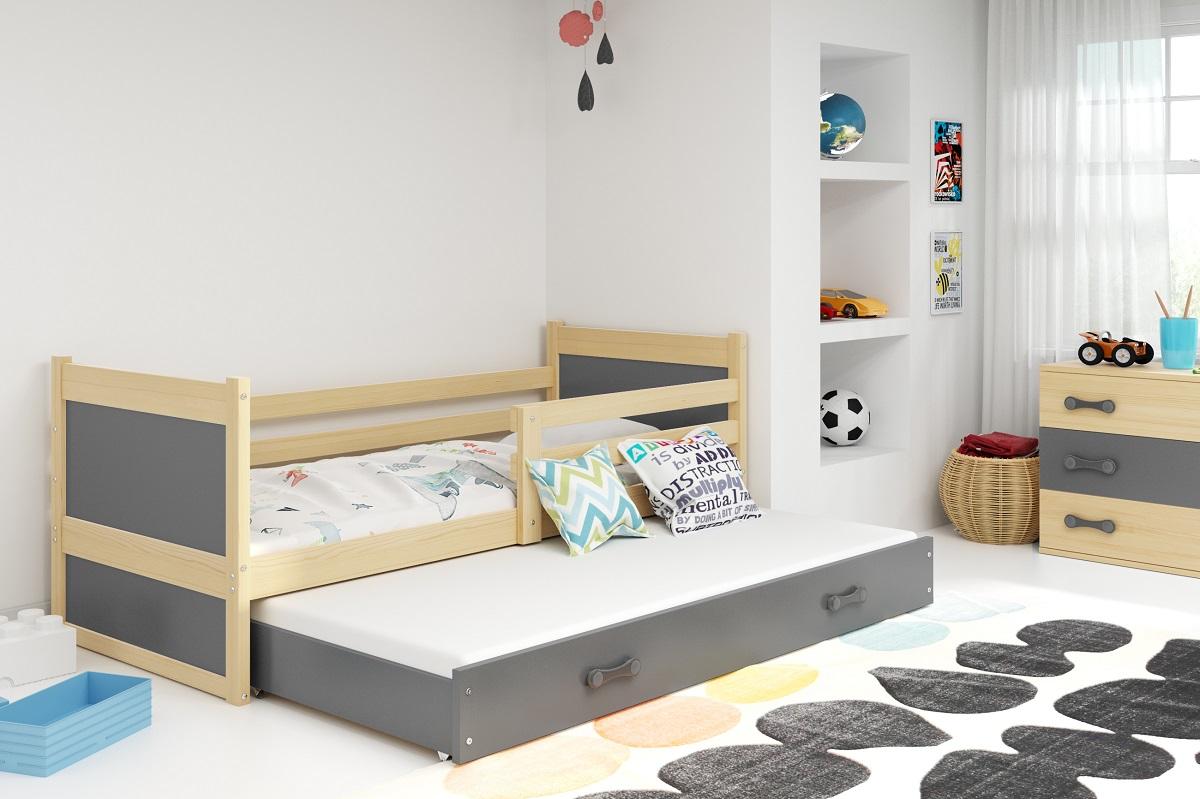 BMS Detská posteľ RICO 2 / BOROVICA 200x90 Farba: Sivá