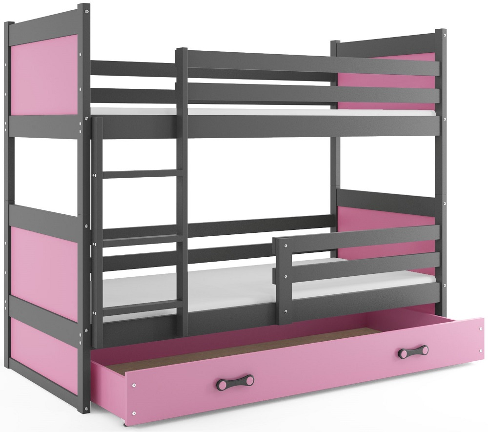 BMS Detská poschodová posteľ RICO / SIVÁ 190x80 Farba: Ružová