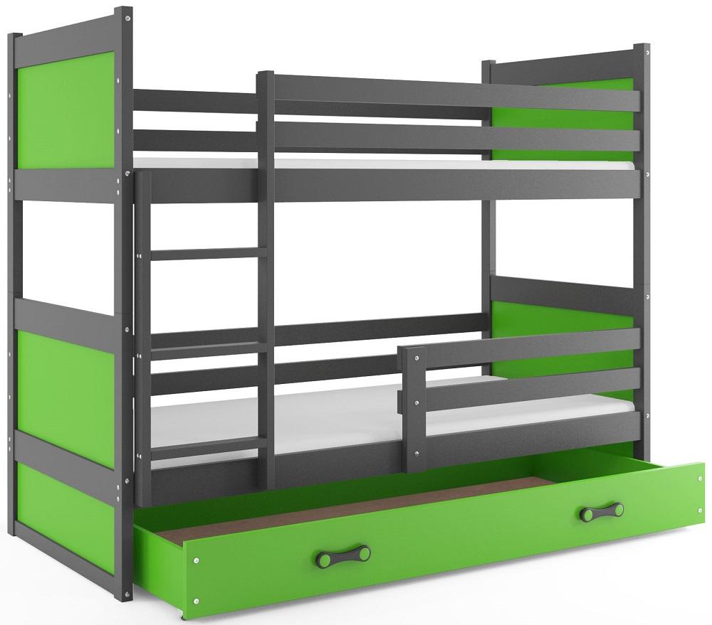 BMS Detská poschodová posteľ RICO / SIVÁ 190x80 Farba: Zelená