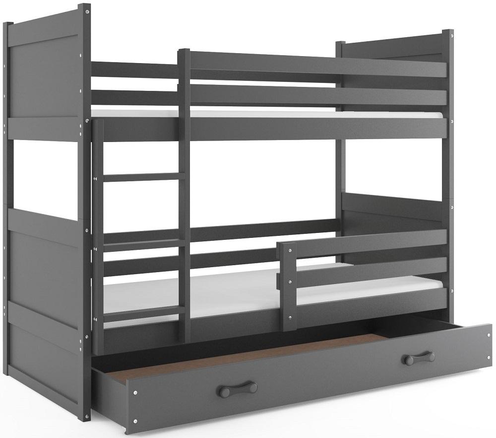 BMS Detská poschodová posteľ RICO / SIVÁ 190x80 Farba: Sivá