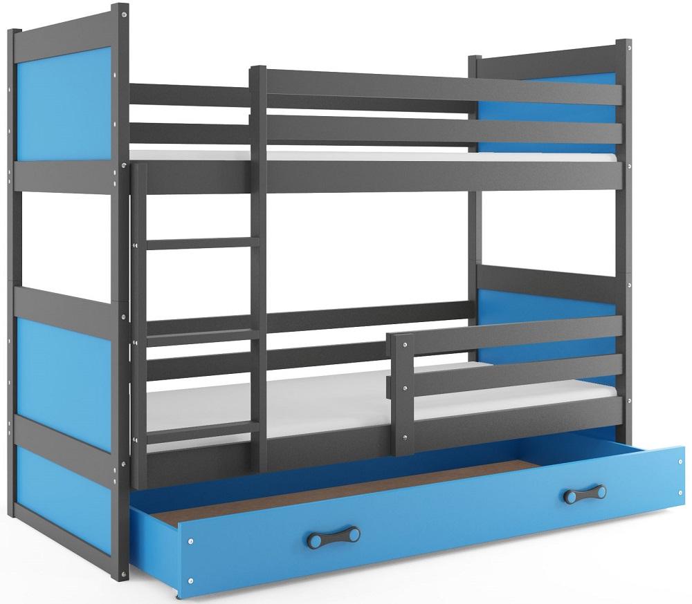 BMS Detská poschodová posteľ RICO / SIVÁ 190x80 Farba: Modrá