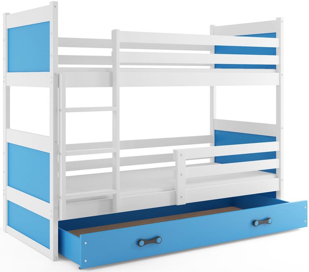 BMS Detská poschodová posteľ RICO / BIELA 200x90 Farba: Biela