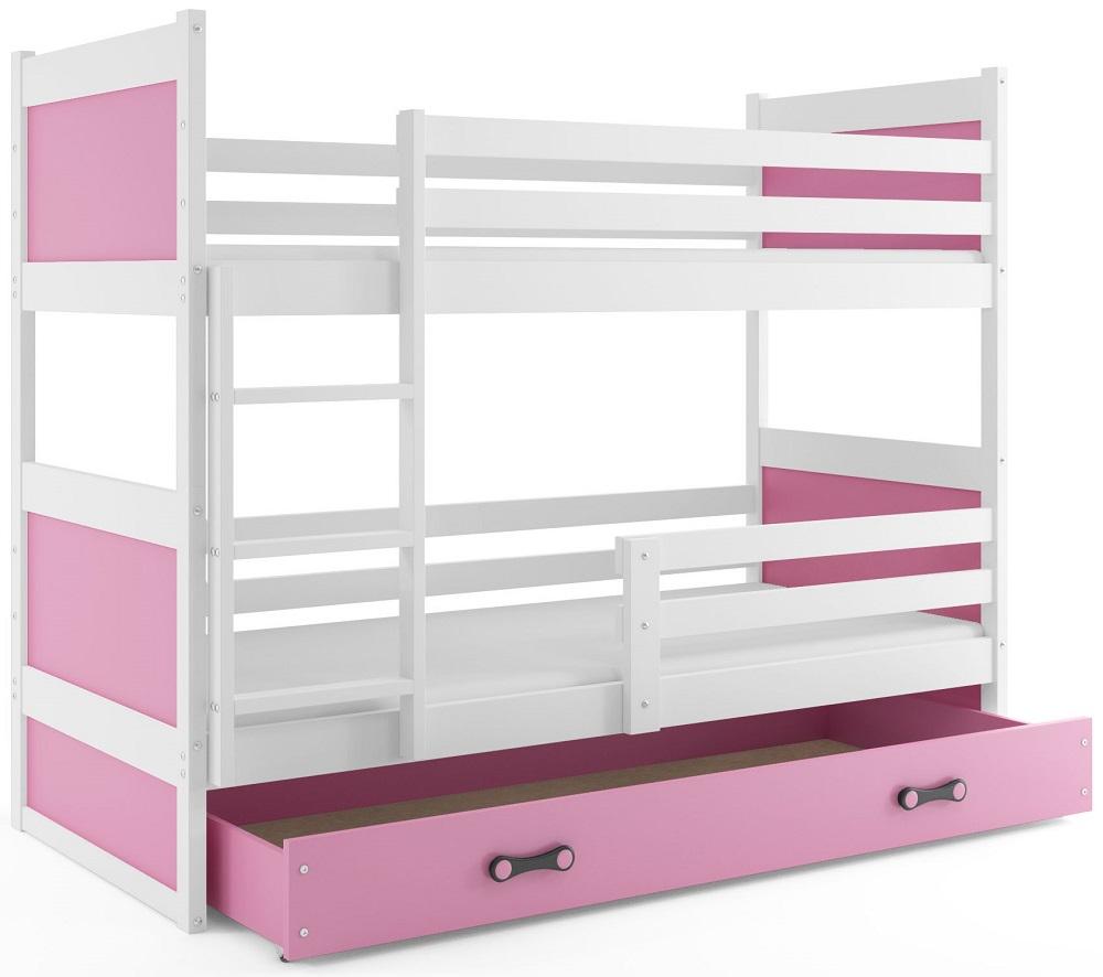 BMS Detská poschodová posteľ RICO / BIELA 200x90 Farba: Modrá - do vypredania zásob