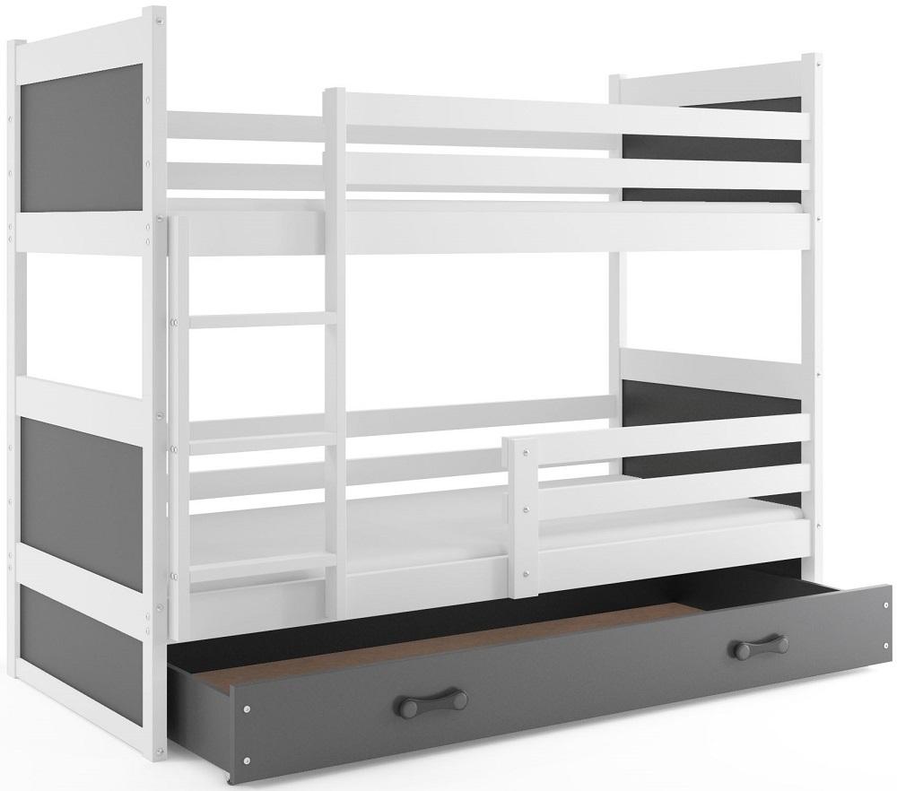 BMS Detská poschodová posteľ RICO / BIELA 200x90 Farba: Fialová