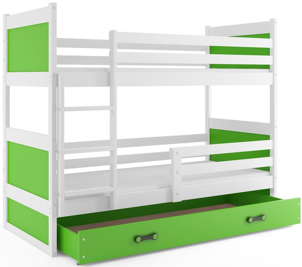 BMS Detská poschodová posteľ RICO / BIELA 200x90 Farba: Ružová - do vypredania zásob