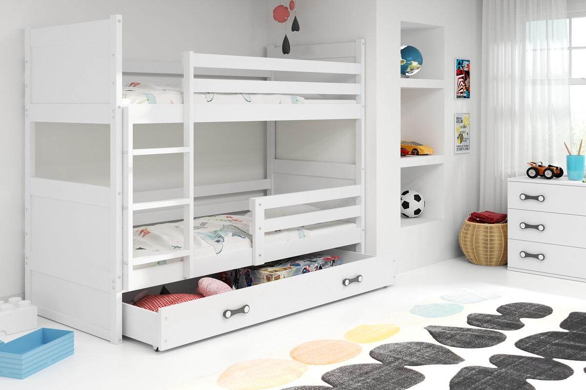 BMS Detská poschodová posteľ RICO / BIELA 200x90 Farba: Sivá