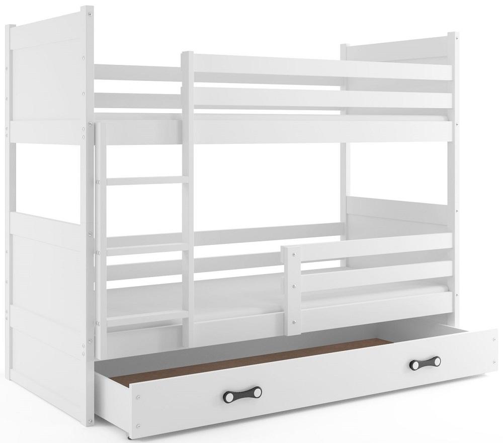 BMS Detská poschodová posteľ RICO / BIELA 200x90 Farba: Zelená