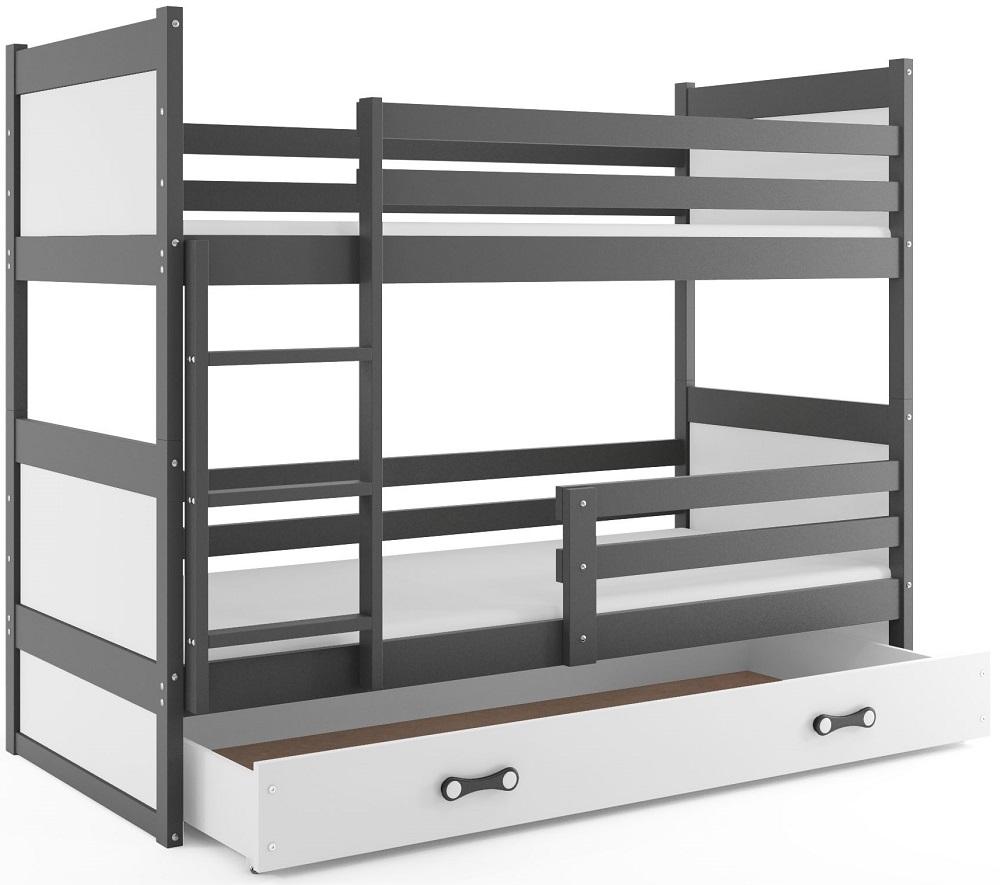BMS Detská poschodová posteľ RICO / SIVÁ 200x90 Farba: Fialová