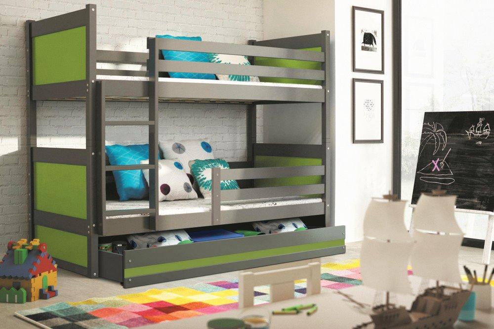 BMS Detská poschodová posteľ RICO / SIVÁ 200x90 Farba: Biela