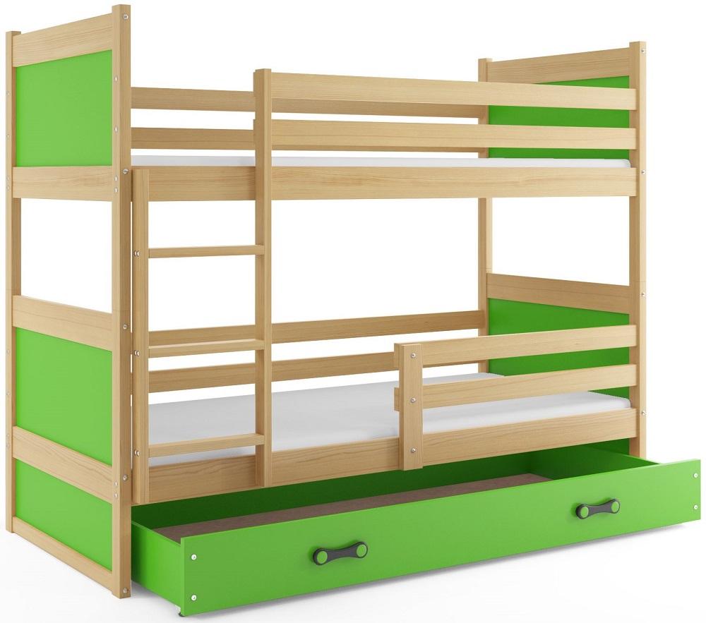 BMS Detská poschodová posteľ RICO / BOROVICA 200x90 Farba: Zelená