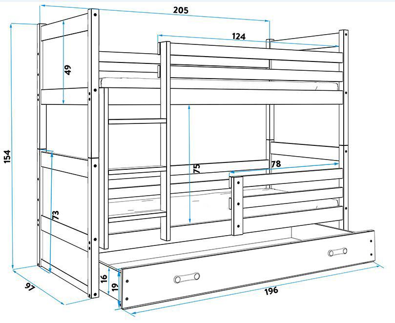 BMS Detská poschodová posteľ RICO / BOROVICA 200x90 Farba: Sivá