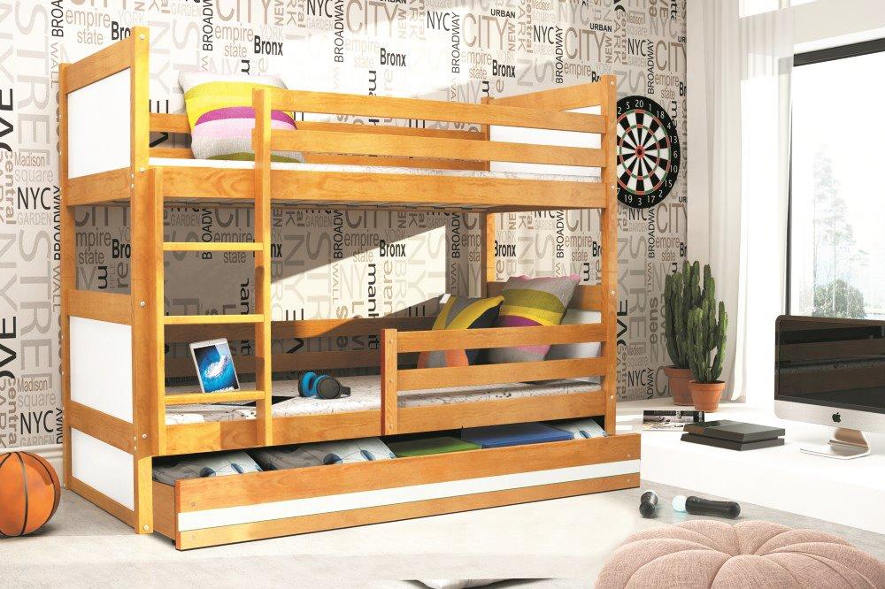 BMS Detská poschodová posteľ RICO / JELŠA 200x90 Farba: Biela