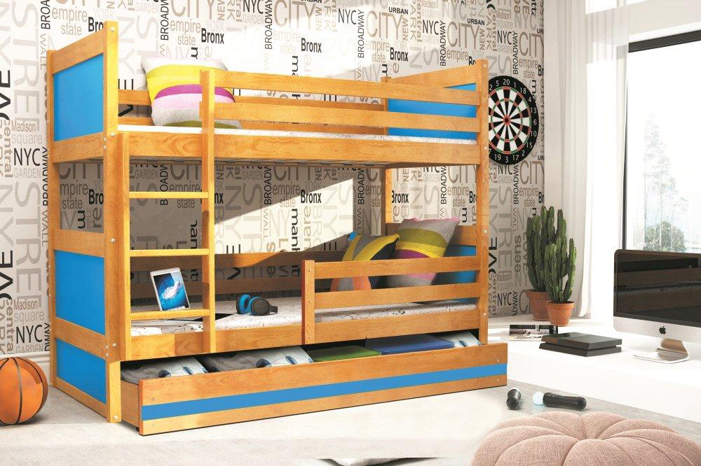 BMS Detská poschodová posteľ RICO / JELŠA 200x90 Farba: Modrá