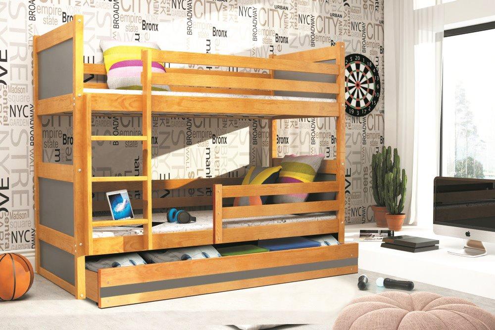 BMS Detská poschodová posteľ RICO / JELŠA 200x90 Farba: Sivá