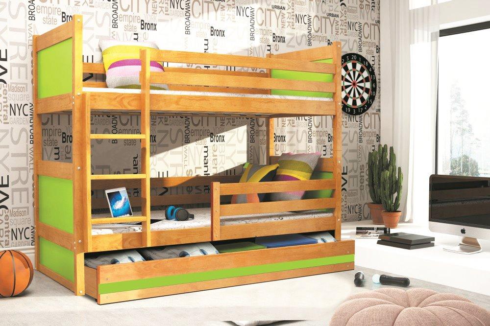 BMS Detská poschodová posteľ RICO / JELŠA 200x90 Farba: Zelená