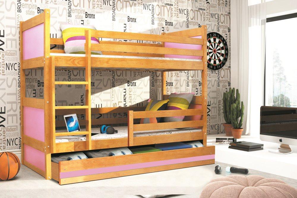 BMS Detská poschodová posteľ RICO / JELŠA 200x90 Farba: Ružová