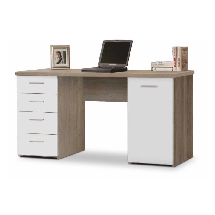 Tempo Kondela PC stôl EUSTACH Farba: Dub sonoma / biela