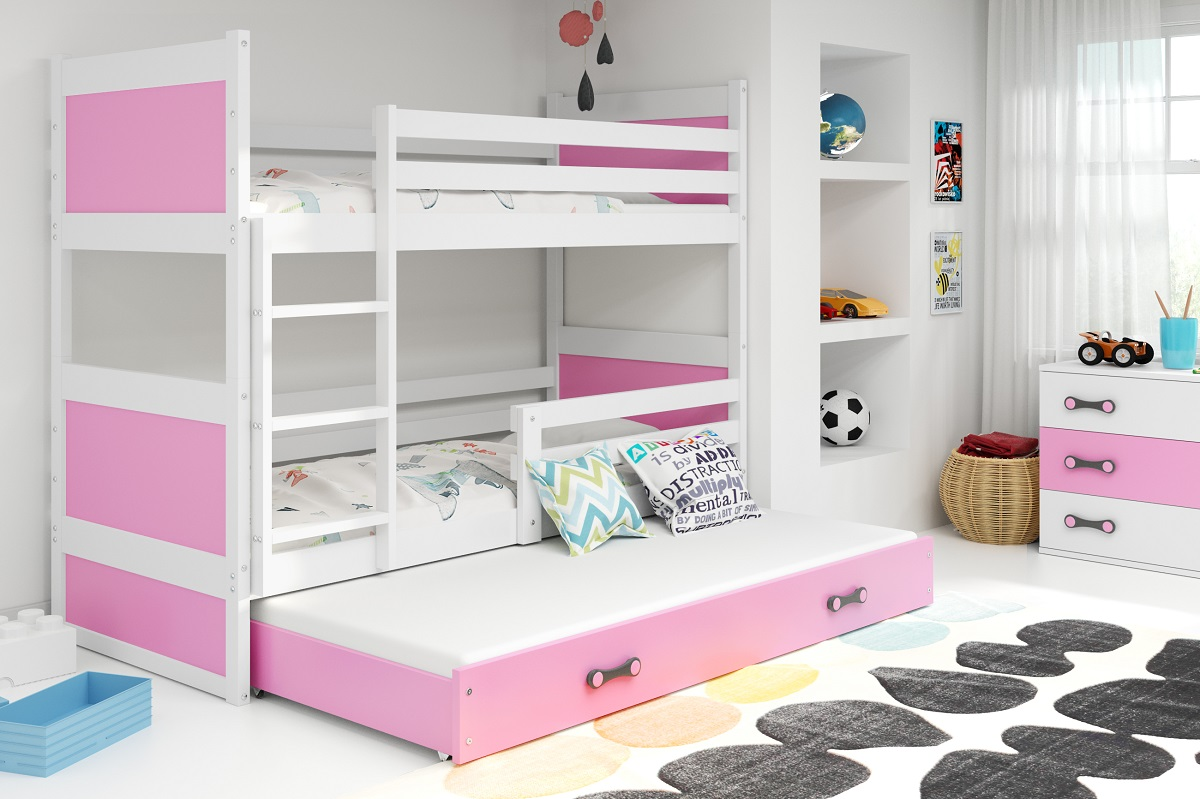 BMS Detská poschodová posteľ s prístelkou RICO 3 / BIELA 160x80 cm Farba: RICO3/160/BIELA/RUŽOVÁ