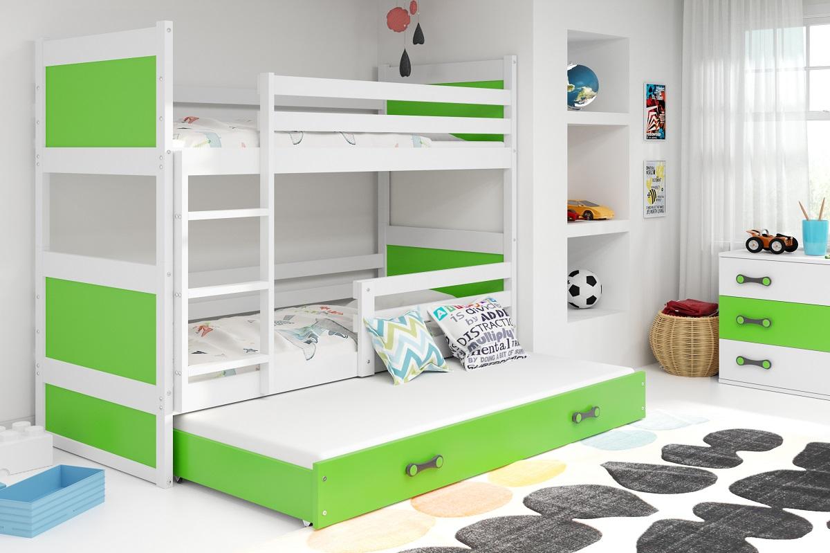 BMS Detská poschodová posteľ s prístelkou RICO 3 / BIELA 160x80 cm Farba: RICO3/160/BIELA/ZELENÁ