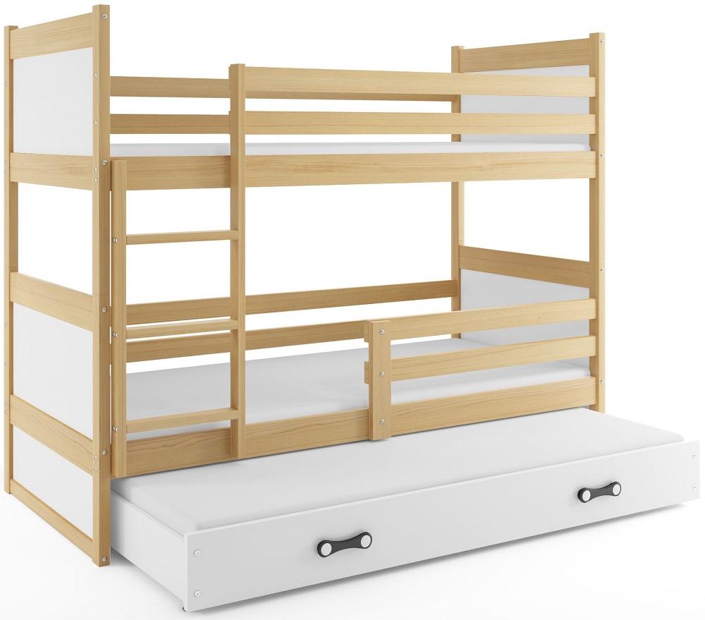BMS Detská poschodová posteľ s prístelkou RICO 3 / BOROVICA 160x80 cm Farba: Biela