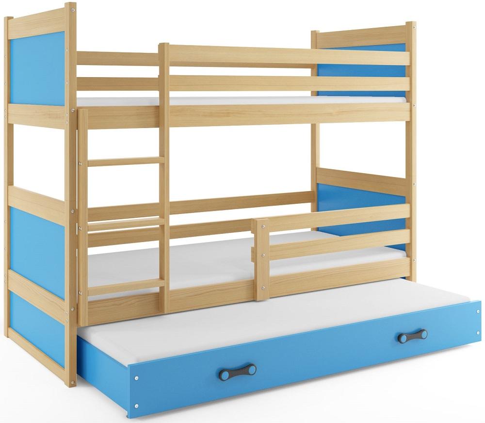 BMS Detská poschodová posteľ s prístelkou RICO 3 / BOROVICA 160x80 cm Farba: Modrá